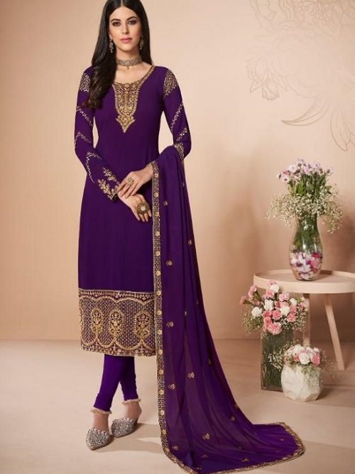 Aashirwad-Presents-Cross-Stitch-Real-Georgette-With-Embroidery-and-Work-Designer-Suit-7057