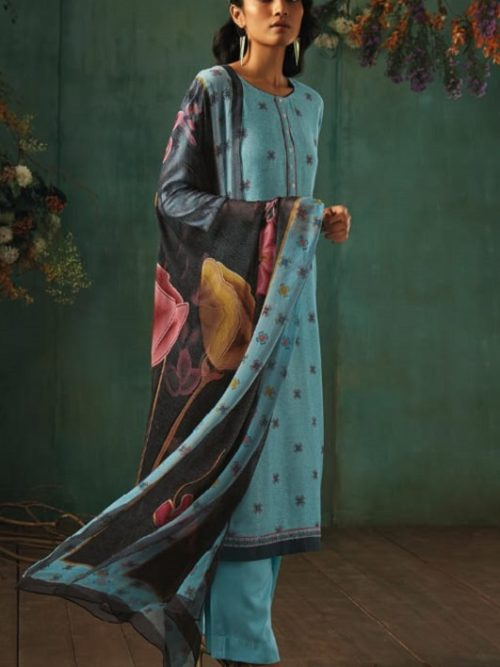 Ganga-Presents-Emerald-Flower-Collection-Pure-Wool-Dobby-Printed-With-Embroidery-Salwar-Suits-8205