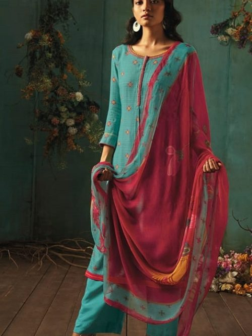 Ganga-Presents-Emerald-Flower-Collection-Pure-Wool-Dobby-Printed-With-Embroidery-Salwar-Suits-8207