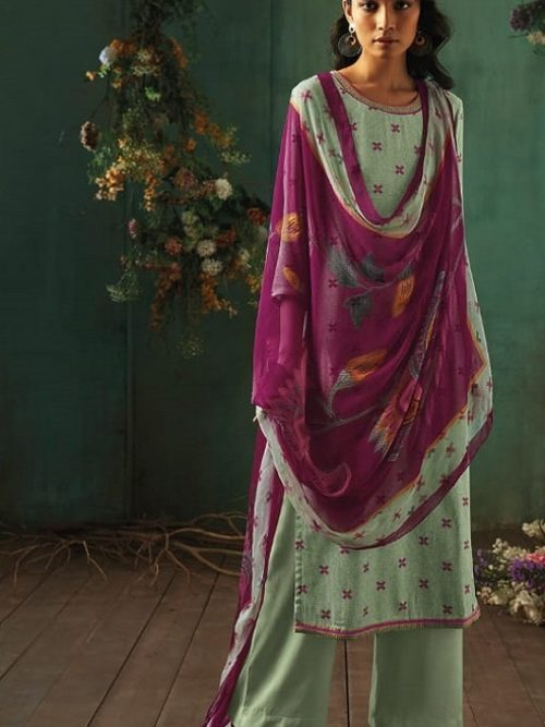 Ganga-Presents-Emerald-Flower-Collection-Pure-Wool-Dobby-Printed-With-Embroidery-Salwar-Suits-8209