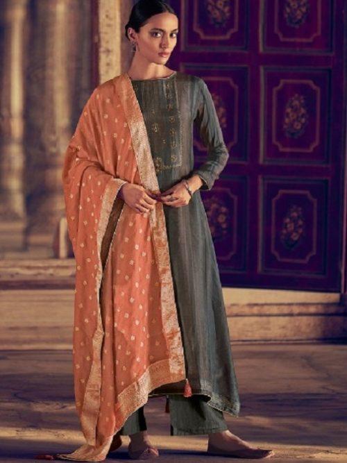 Varsha-Fashions-Presents-Navika-Pure-Tussar-Silk-Digital-With-Sadhi-Handwork-Salwar-Suit-NV-23