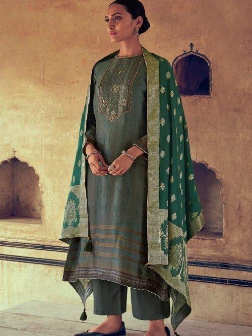 Varsha-Fashions-Presents-Navika-Pure-Tussar-Silk-Digital-With-Sadhi-Handwork-Salwar-Suit-NV-27