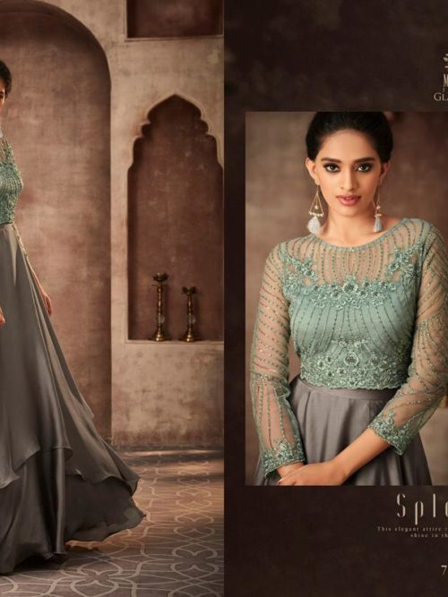 Silk Georgette with Work Party Wear Gown D.No 75005