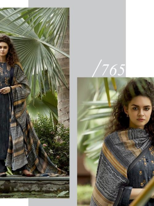 Cotton Satin Digital Print with Embroidery Suit D.No 765