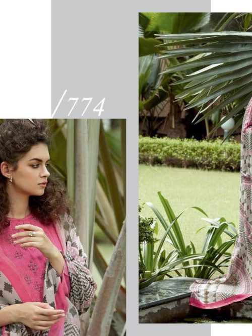 Cotton Satin Digital Print with Embroidery Suit D.No 774