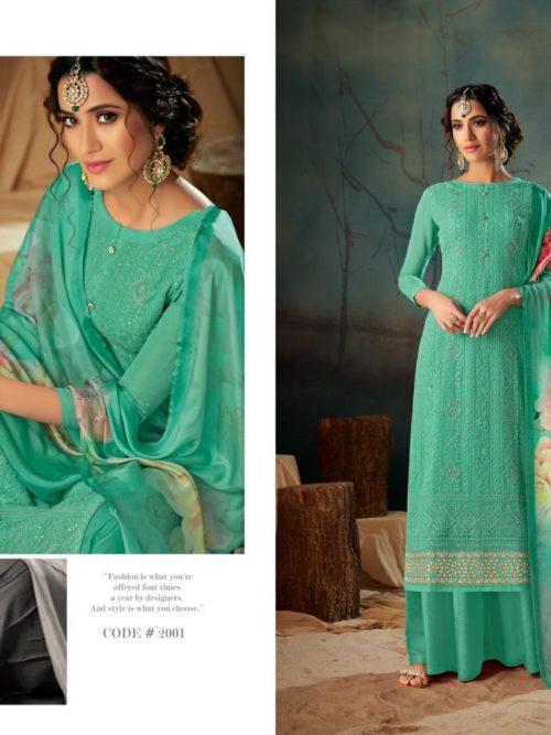 Georgette With Lucknavi Embroidery Suit D.No 2001