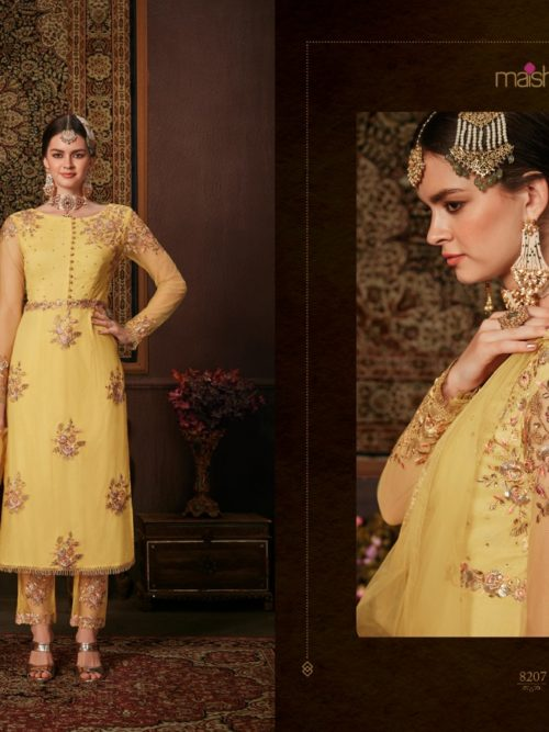 Net With Embroidery Party Wear Suit D.No 8207