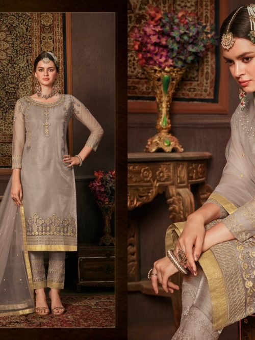 Net With Embroidery Party Wear Suit D.No 8206