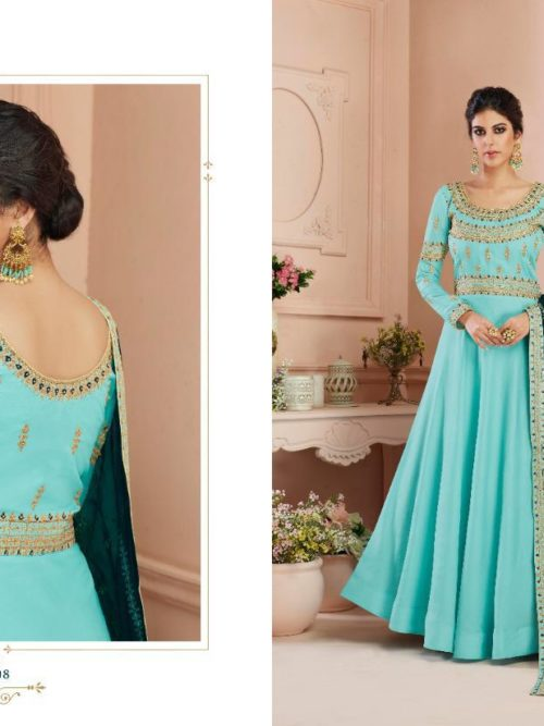 Silk Emboridered Party Wear Dress D.No 7108
