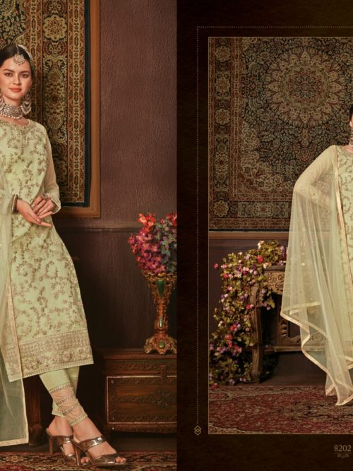 Net With Embroidery Party Wear Suit D.No 8202