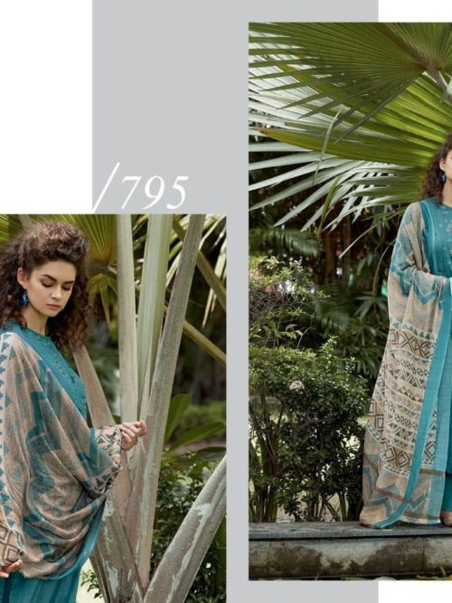Cotton Satin Digital Print with Embroidery Suit D.No 795