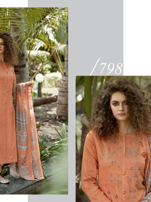 Cotton Satin Digital Print with Embroidery Suit D.No 798