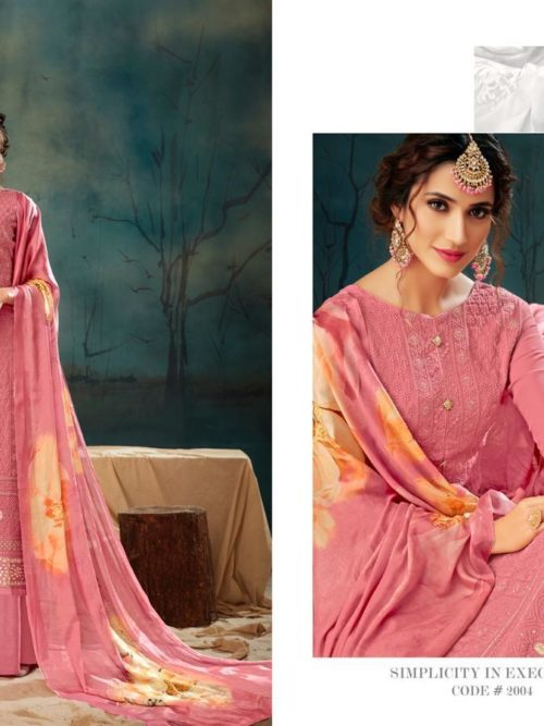 Georgette With Lucknavi Embroidery Suit D.No 2004