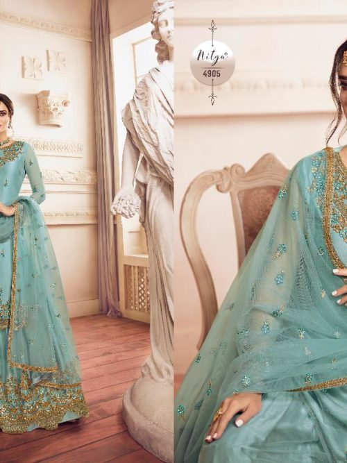 Net With Embroidery Party Wear Suit D.No 4905