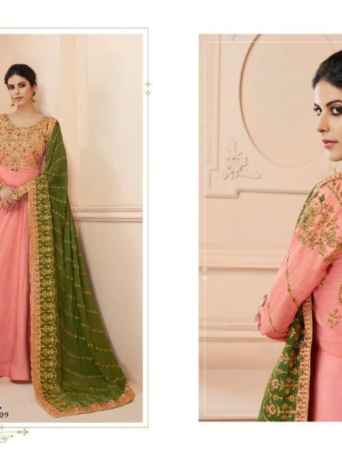 Silk Emboridered Party Wear Dress D.No 7109