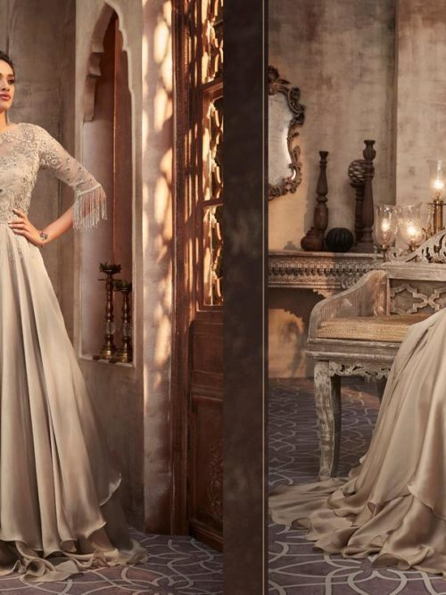 Silk Georgette with Work Party Wear Gown D.No 75002