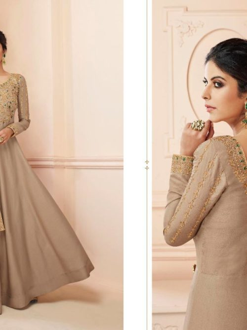 Silk Emboridered Party Wear Dress D.No 7111