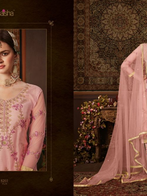 Net With Embroidery Party Wear Suit D.No 8203