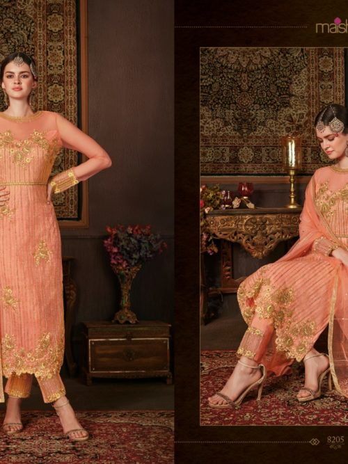 Net With Embroidery Party Wear Suit D.No 8205
