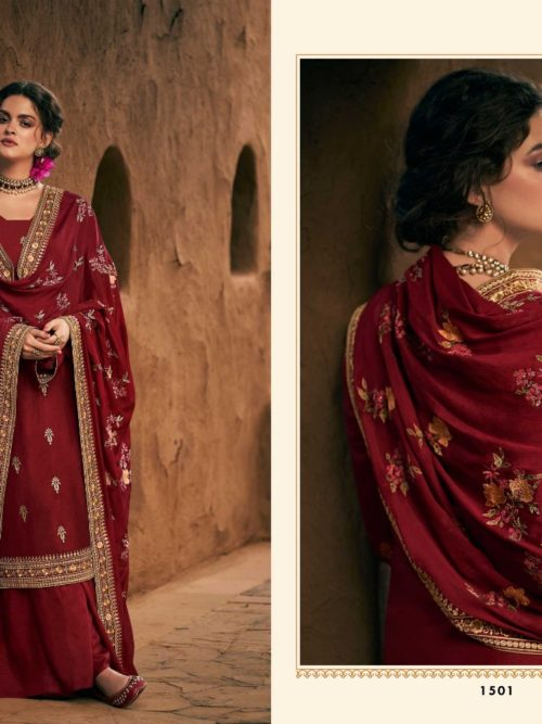 Silk With Heavy Embroidery Work Suit D.No 1501