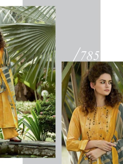 Cotton Satin Digital Print with Embroidery Suit D.No 785