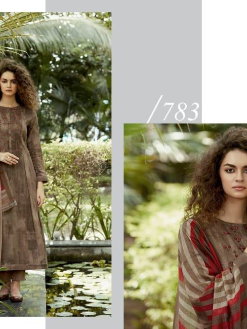 Cotton Satin Digital Print with Embroidery Suit D.No 783