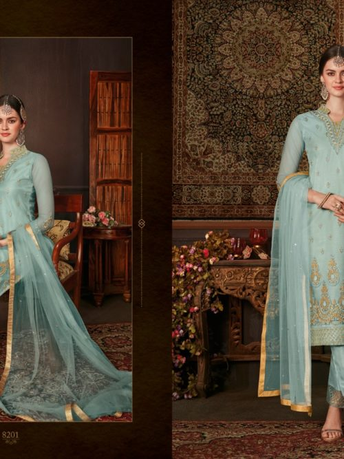 Net With Embroidery Party Wear Suit D.No 8201