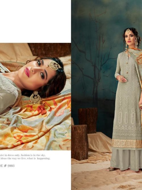 Georgette With Lucknavi Embroidery Suit D.No 2003