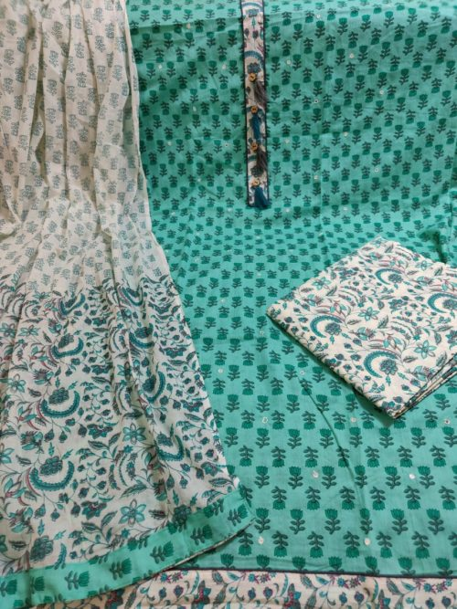 Pure Cotton Block Print With Work Suit