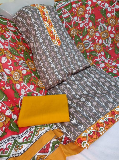 Pure Cotton Block Print With Aari Work Suit