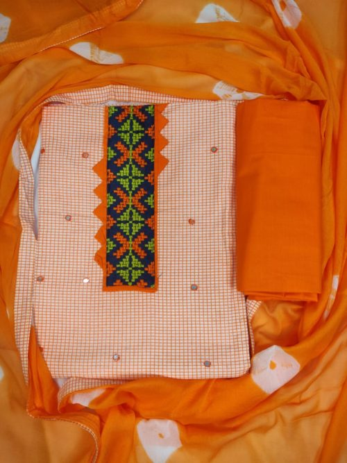 Cotton Cross Stitched Embroidered Suit