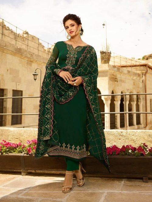Satin Georgette With Embroidery Suit D.No 1401