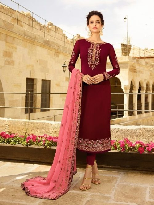 Satin Georgette With Embroidery Suit D.No 1402