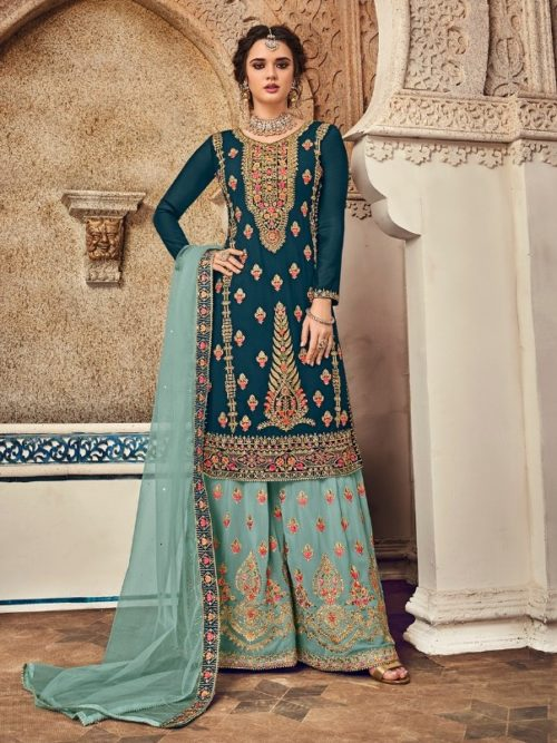 Gergette With Embroidery Sharara Suit D.No 1165