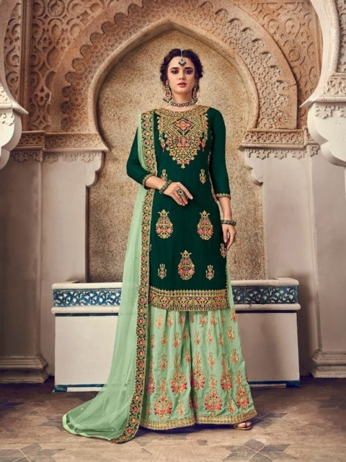 Gergette With Embroidery Sharara Suit D.No 1167