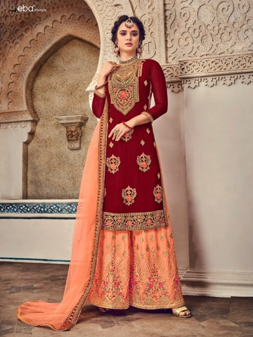 Gergette With Embroidery Sharara Suit D.No 1168