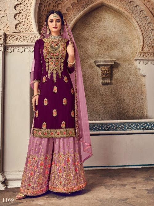 Gergette With Embroidery Sharara Suit D.No 1169