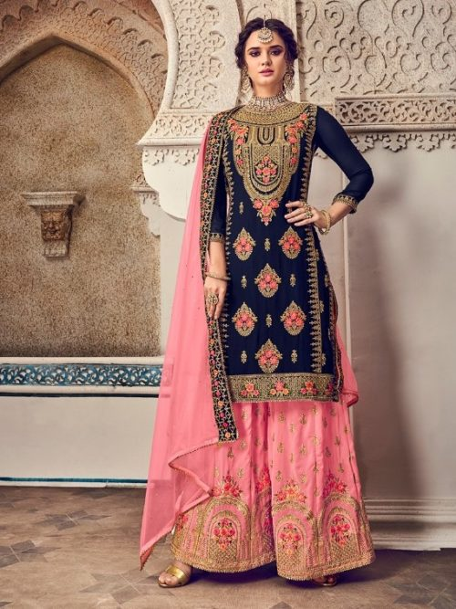 Gergette With Embroidery Sharara Suit D.No 1170