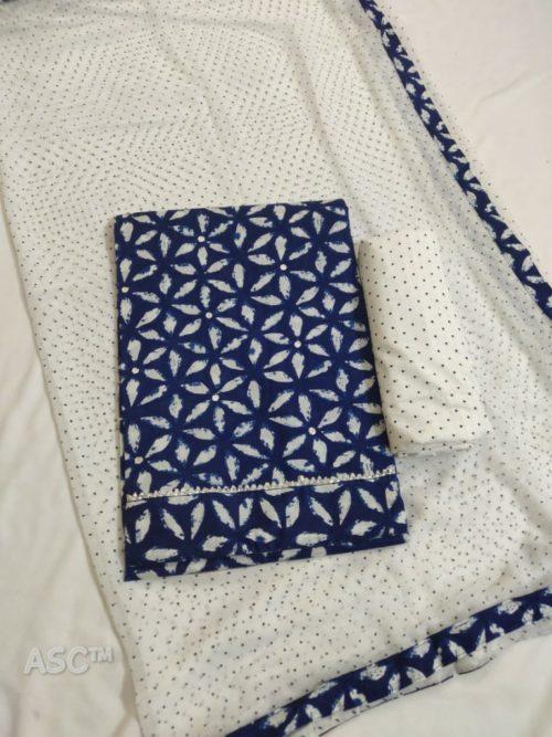 Pure Cotton Block Print With Foil Work Suit