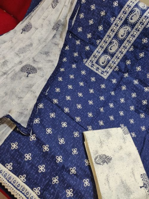 cotton embroidered with block print salwar suit
