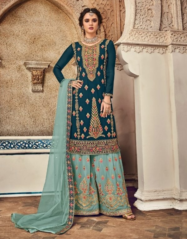 Embroidered Georgette Palazzo