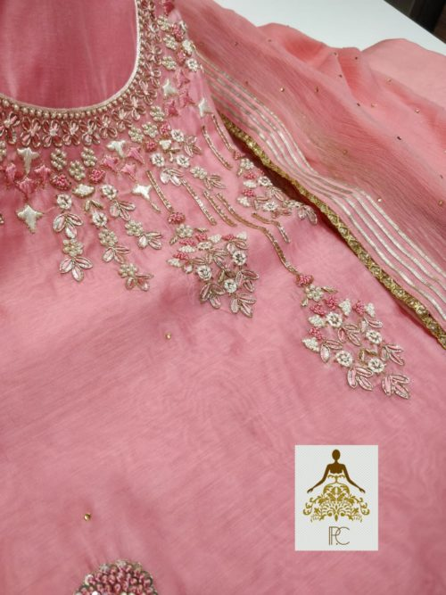 Embroidered Chanderi Suit with Gota Patti, Sequins & Pearl Work