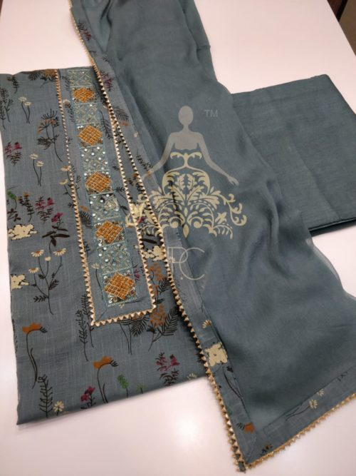 Printed Khaadi Cotton Suit with Embroidered Neck