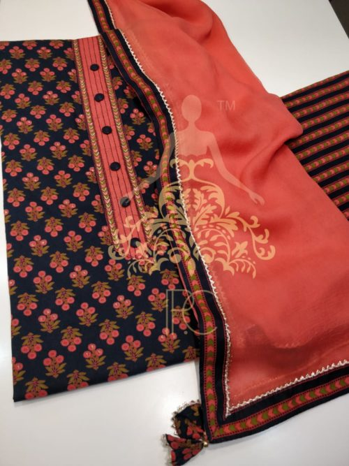 Cotton Printed Suit with Neck Work and Gota Detailing