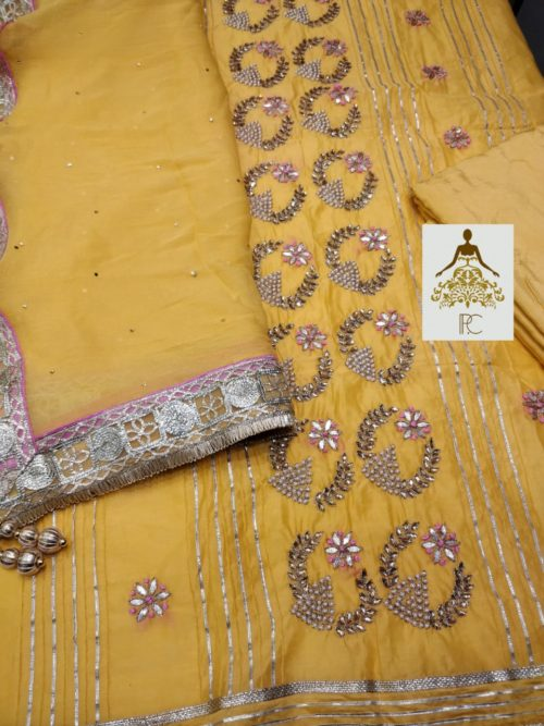 Embroidered Chanderi Suit with Gota, Kundan & Pearl Work