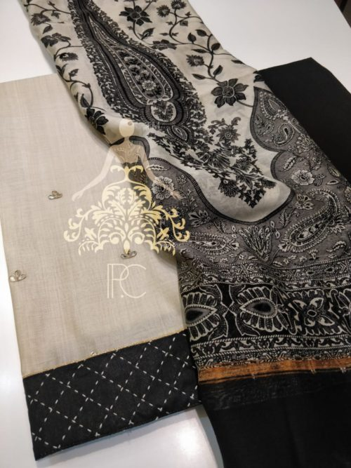 Embroidered Chanderi Suit with Gota Patti Work