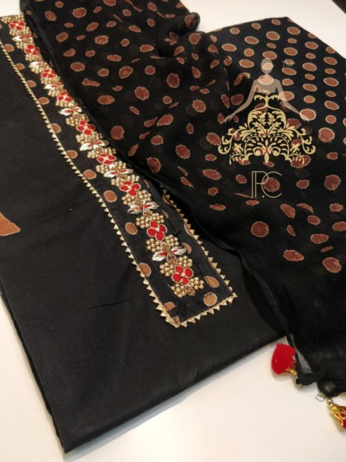 Printed Cotton Suit with Embroidered Neck and Gota Detailing