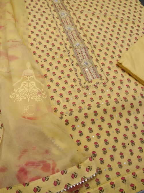Printed Cotton Suit with Gota Detailing