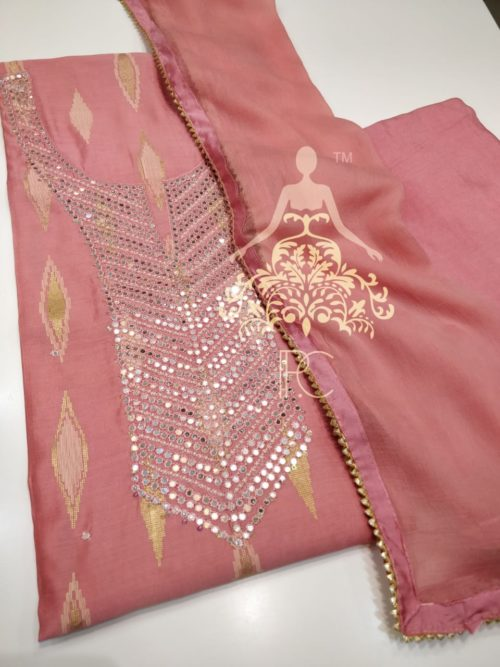 Embroidered Modal Silk Suit with Mirror Work