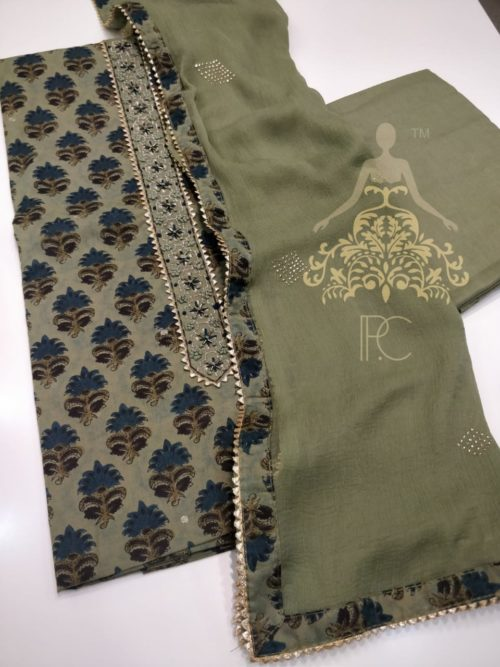 Cotton Printed Suit with Neck Work